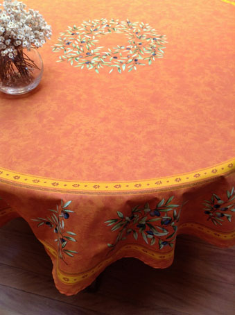 70in round cotton tablecloth with olive design from provence