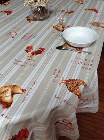 french oilcloth with hens design