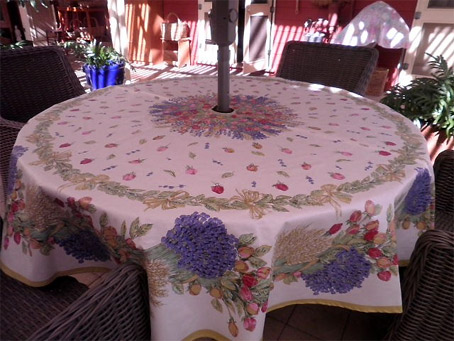 large round patio tablecloth with umbrella hole and open-end zipper