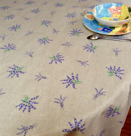 french provencal plastic coated table cover with lavender design