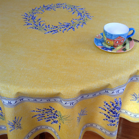 lavender design french round tablecloth 70in or 90in diameter