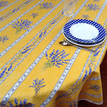 french provencal coated tablecloth with lavender design in purple and linen colours