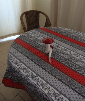 black and red french tablecloth