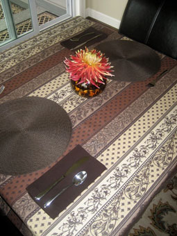 beige and brown tablecloth