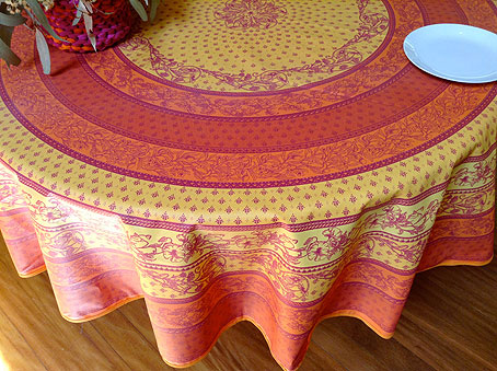 acrylic coated large round provencal easy care tablecloth