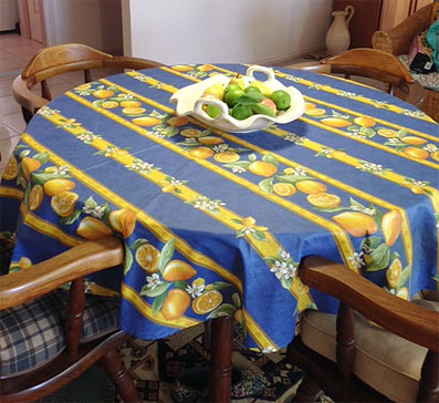 60in round coated tablecloth