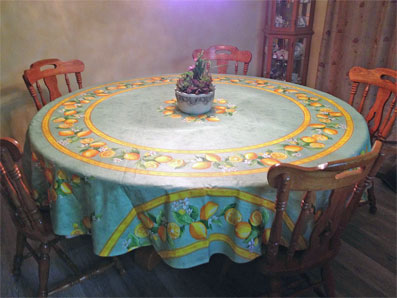 90in round coated tablecloth