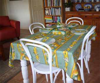 coated wipe over tablecloth from france
