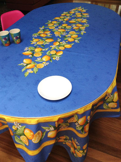 large oval coated tablecloth