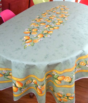 8 seater coated french tablecloth