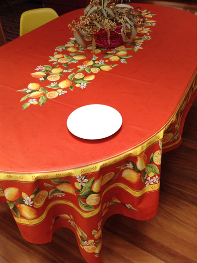 large oval plastic treated tablecloth with lemons