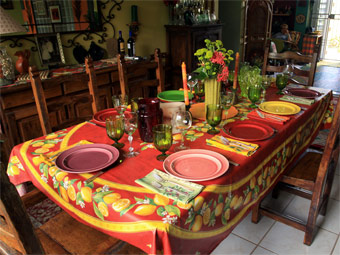 provencal tablecloth with red and yellow lemon designs