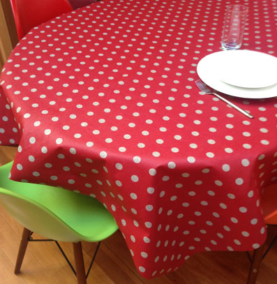 coated tablecloth red with polka dots