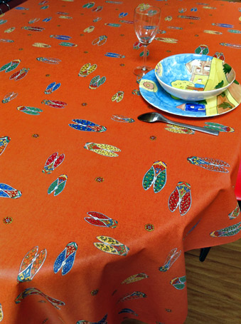 french provencal coated tablecloth with cicadas designs