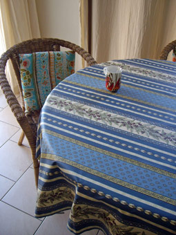 blue and white french oilcloth with olives deisgns