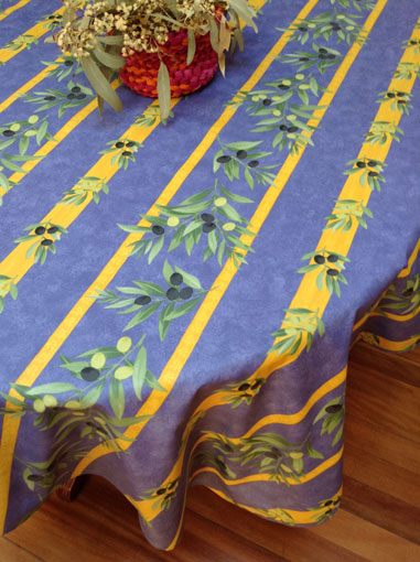 french provencal coated tablecloth with acrylic coating for easy maintenance cloths