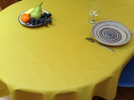 plain yellow coated linen cloth