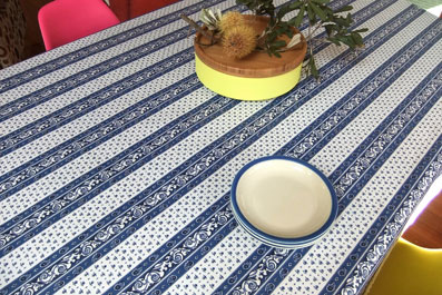 blue and white procencal tablecloth
