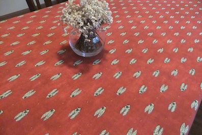 french provencal tablecloth with cicada design