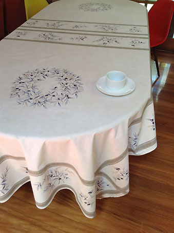 12 seater french tablecloth with olive design and beige background