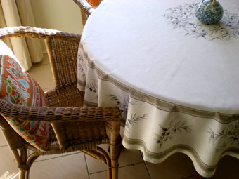 beige round cloth with olives design