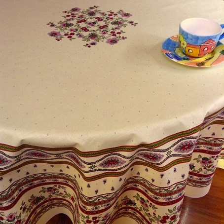 180 cm round french provencal coated tablecloth