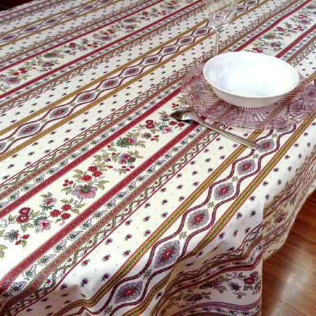 french coated tablecloth with traditional provencal designs
