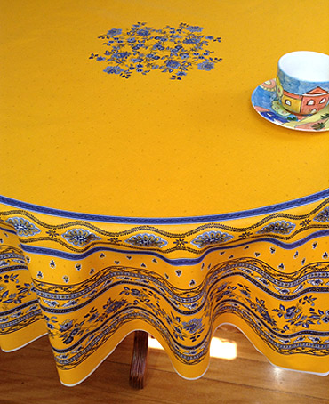 large round provencal tablelcloth with plastic coating