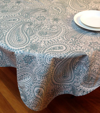 french coated dining room tablecloth with blue tones