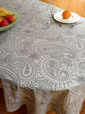 grey tablecloth with paisley designs