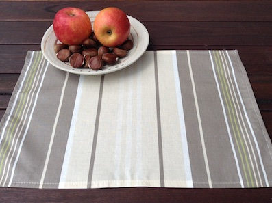 striped coated placemats