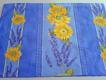 blue provence placemat with sunflower