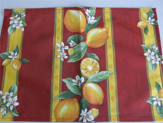 coated placemat with lemon designs