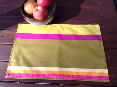 purple and green wipe over placemats