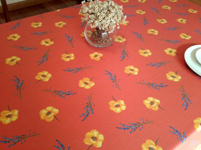red poppies tablecloth from France