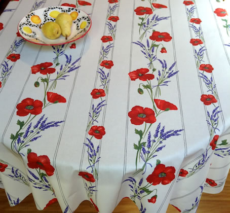 french treated tablecloth with poppies design