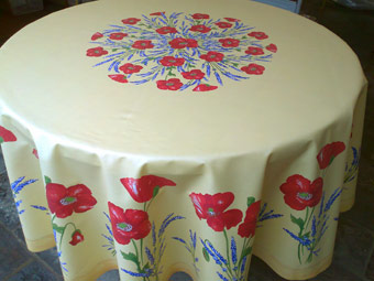 poppies design coated round tablecloth
