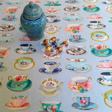 vintage coated tablecloth with tea cups