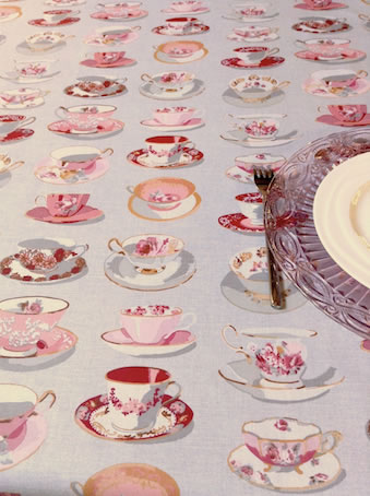 romantic pink breakfast tablecloth with tea cups designs