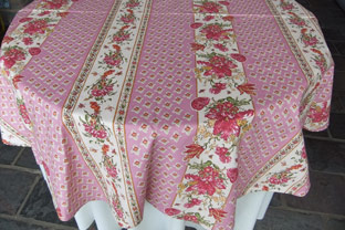 60 in round coated tablecloth