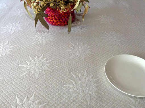 pique quilted french tablecloth in linen beige colours