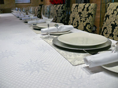 luxury white banquet tablecloth