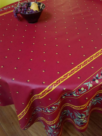 wipe-over french tablecloth in red and yellow tones