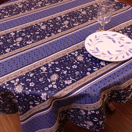 blue coated french tablecloth