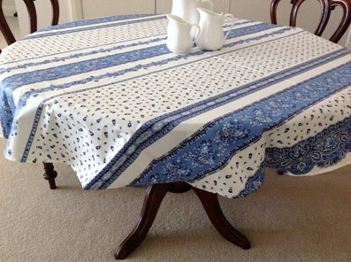 blue and white oval provencal tablecloth