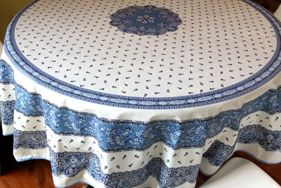 blue and white coated round tablecloth