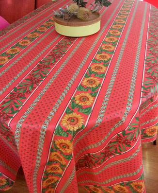 provencal coated tablecloth with sunflowers and olives