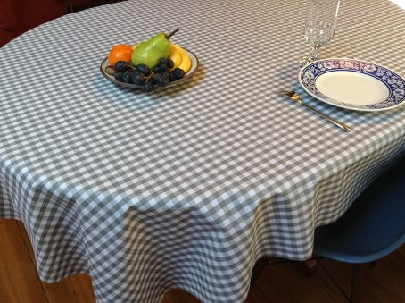 grey and white french check tablecloth