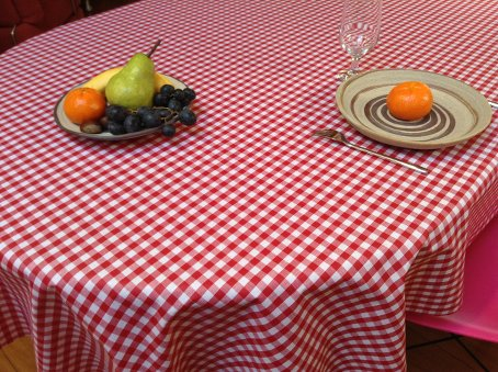 red and white check acrylic coated french tablecloth