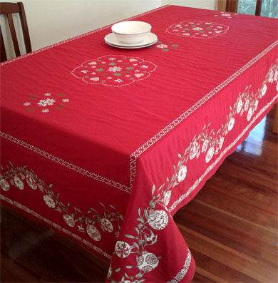 christmas baubles red table cloth
